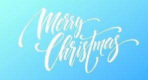Handschriftsskriptbeschriftung der frohen Weihnachten auf einem hellen farbigen Hintergrund Auch im corel abgehobenen Betrag Lizenzfreie Stockfotografie