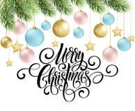 Handschriftsskriptbeschriftung der frohen Weihnachten Grußhintergrund mit einem Weihnachtsbaum und Dekorationen Vect Lizenzfreies Stockfoto