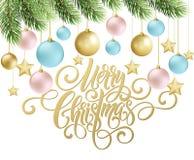 Handschriftsskriptbeschriftung der frohen Weihnachten Grußhintergrund mit einem Weihnachtsbaum und Dekorationen Vect Stockfotos