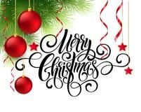 Handschriftsskriptbeschriftung der frohen Weihnachten Grußhintergrund mit einem Weihnachtsbaum und Dekorationen Vect Lizenzfreie Stockbilder