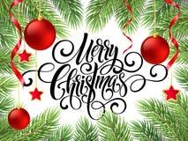 Handschriftsskriptbeschriftung der frohen Weihnachten Grußhintergrund mit einem Weihnachtsbaum und Dekorationen Vect Stockbild