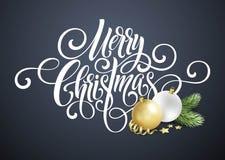 Handschriftsskriptbeschriftung der frohen Weihnachten Grußhintergrund mit einem Weihnachtsbaum und Dekorationen Vect Stockbilder