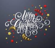 Handschriftsskriptbeschriftung der frohen Weihnachten Weihnachtsglückwunschhintergrund mit Ausläufern, Konfettis Vektor Stockbilder