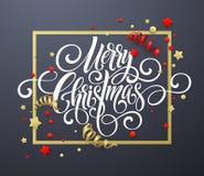 Handschriftsskriptbeschriftung der frohen Weihnachten Weihnachtsglückwunschhintergrund mit Ausläufern, Konfettis Vektor Lizenzfreie Stockfotos