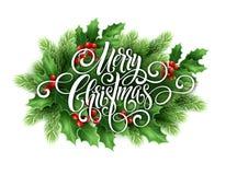 Handschriftsskriptbeschriftung der frohen Weihnachten Weihnachtsgruß-Karte mit Stechpalme Auch im corel abgehobenen Betrag Lizenzfreie Stockfotos