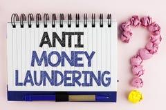 Handschriftstext Anti-Monay Laundring Hereinkommende Projekte der Konzeptbedeutung, zum des weg schmutzigen Geldes zu erhalten un stockfoto