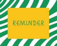 Handschriftstext Anzeige Konzeptbedeutungssache, die jemand veranlaßt, sich an etwas zu erinnern Ereignis oder Datum stock abbildung