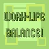 Handschriftstext Arbeits-Leben-Balance Konzept, das Zeiteinteilung zwischen Funktion oder Familie und Freizeit bedeutet stock abbildung