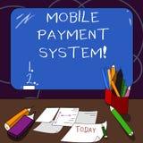 Handschriftstext bewegliches Zahlungs-System Die Konzeptbedeutung Zahlungsdienstleistung, die über tragbare Geräte erbracht wurde lizenzfreie abbildung