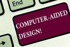 Handschriftstext computergesützte Konstruktion Konzept, das industrielles Entwerfen CAD durch die Anwendung der Tastatur der elek lizenzfreie stockfotos