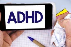 Handschriftstext, der Adhd schreibt Konzeptbedeutung Lernen einfacher für das Kinderunterrichten nicht mehr eine schwierige Aufga Stockbilder