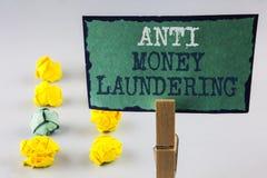 Handschriftstext, der Anti-Monay Laundring schreibt Hereinkommende Projekte der Konzeptbedeutung, zum des weg schmutzigen Geldes  lizenzfreie stockbilder