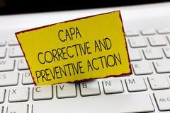 Handschriftstext, der Capa korrektiv und vorbeugende Maßnahmen schreibt Konzeptbedeutung Beseitigung von nonconformities lizenzfreies stockbild