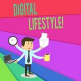 Handschriftstext, der Digital-Lebensstil schreibt Konzept, das Funktion über der Internet Welt von den Gelegenheiten betont bedeu vektor abbildung