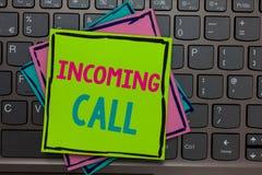 Handschriftstext, der eingehenden Anruf schreibt Konzeptbedeutung empfangene Anrufer Identifikations-Telefon-Voicemail Vidcall-Pa stockbilder