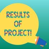 Handschriftstext, der Ergebnisse der Projekte schreibt Konzept, das Konsequenz oder Ergebnis von bestimmtem Aktionen Schritt-frei lizenzfreie abbildung