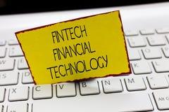 Handschriftstext, der Fintech Finanztechnologie schreibt Konzeptbedeutung erbringen Währungsdienstleistung unter Verwendung der n lizenzfreie stockfotos
