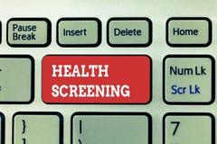 Handschriftstext, der Gesundheits-Siebung schreibt Konzeptbedeutung visierte die systematische Aktion an, die entworfen war, um K stockbilder