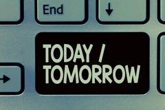 Handschriftstext, der heute morgen schreibt Konzeptbedeutung, was jetzt geschieht und was die Zukunft holt lizenzfreies stockbild