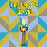 Handschriftstext, der I M On Sick Leave schreibt Konzept, das Abwesenheit von der Arbeitsschule die Erlaubnis gehabt wegen der Kr stock abbildung