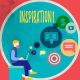 Handschriftstext, der Inspiration schreibt Konzept, das Anregung bedeutet, um etwas zu glauben oder zu tun kreativ stock abbildung