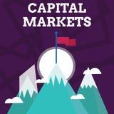 Handschriftstext, der Kapitalm?rkte schreibt Konzeptbedeutung lassen Gesch?fte Kapitalien aufbringen, indem sie Marktsicherheit z lizenzfreie abbildung