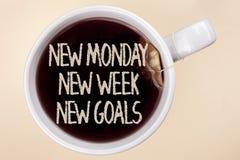 Handschriftstext, der neuem Montag neue Wochen-neue Ziele schreibt Konzept, das nächste Woche Beschlüsse bedeutet, die Liste Ziel Lizenzfreie Stockbilder