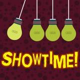 Handschriftstext, der Showtime schreibt Konzeptbedeutung Zeit wird ein Spiel-Film-Konzert Perforanalysisce-Ereignis festgelegt, u stock abbildung