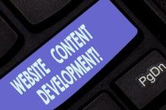 Handschriftstext, der Website-Inhalts-Entwicklung schreibt Konzeptbedeutungsprozeß der Ausgabe von Informationen die Leser, nützl stockbilder