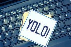 Handschriftstext, der Yolo schreibt Konzeptbedeutungsstand für Sie leben nur einmal populäre Phase unter Studenten und Teenager lizenzfreie stockfotografie