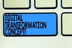Handschriftstext Digital-Umwandlungs-Konzept Konzeptbedeutung gehender Gebrauch ohne Papier von Digitaltechnik Taste Absicht vektor abbildung