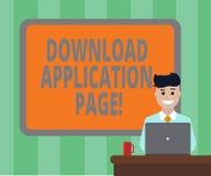 Handschriftstext Download-Anwendungs-Seite Konzeptbedeutungscomputer empfängt Daten vom Internet-freier Raum angrenzenden Brett vektor abbildung