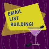 Handschriftstext E-Mail-Listen-Gebäude Konzeptbedeutung erlaubt Verteilung von gefüllten Informationen analysisy Internetnutzern vektor abbildung