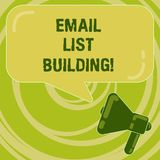 Handschriftstext E-Mail-Listen-Gebäude Konzeptbedeutung erlaubt Verteilung von Informationen analysisy Internetnutzern vektor abbildung