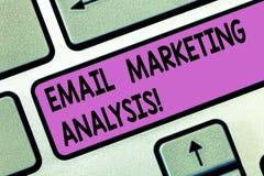 Handschriftstext E-Mail-Marktanalyse Konzeptbedeutung, die das Senden von Mitteilungen zu Kunde Taste Absicht zu überprüft stock abbildung