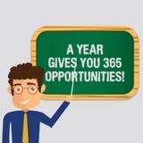 Handschriftstext ein Jahr gibt Ihre 365 Gelegenheiten Motivationsinspiration Mann-Stellungs-Holding Anfangs der Konzeptbedeutung  vektor abbildung