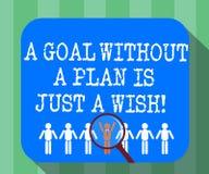 Handschriftstext ein Ziel ohne einen Plan ist gerade ein Wunsch E stock abbildung