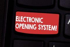 Handschriftstext elektronisches Öffnungs-System Elektronische Absicht Taste System Keycards der Konzeptbedeutung Zugriffskontroll vektor abbildung
