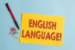 Handschriftstext Englisch-Sprache Konzeptbedeutung Drittel gesprochenes gebürtiges lang in der Welt nach chinesischer und spanisc stockbilder
