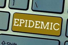 Handschriftstext Epidemie Konzept, das weit verbreitetes Vorkommen einer Infektionskrankheit in einer Gemeinschaft bedeutet lizenzfreies stockbild