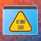 Handschriftstext erhalten mehr Führungen Konzeptbedeutungsanfangsverbraucherinteresse oder Untersuchungsprodukte oder -dienstleis stock abbildung