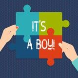 Handschriftstext es Junge S A Das Konzept, das männliches Baby bedeutet, ist kommendes Geschlecht aufdecken Feier stock abbildung