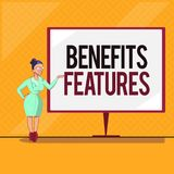 Handschriftstext fördert Funktionen Die Konzeptbedeutung, die ein Produkt macht, stehen heraus vom Menge Wert von ihr stock abbildung