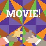 Handschriftstext Film Konzeptbedeutung Kino oder Fernsehfilm Filmbildvideo zeigten auf Schirm zwei Händen an vektor abbildung