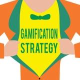 Handschriftstext Gamifications-Strategie Konzeptbedeutungs-Gebrauch Belohnungen für Motivation integrieren Spiel-Mechaniker stock abbildung