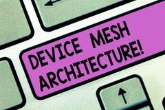 Handschriftstext Gerät Mesh Architecture Konzeptbedeutung Digital-Geschäftstechnologieplattform-Koordination Tastatur lizenzfreie stockfotos