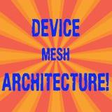 Handschriftstext Gerät Mesh Architecture Konzeptbedeutung Digital-Geschäftstechnologieplattformkoordination Sonnendurchbruchfoto  vektor abbildung
