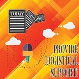 Handschriftstext gewähren logistische Unterstützung Konzept, das Beschaffung und Verteilung von Ausrüstung Informationen bedeutet vektor abbildung