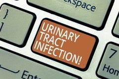Handschriftstext Harnwegsinfektion Konzept, das eine Infektion in irgendeinem Teil der urinausscheidendes System Taste bedeutet lizenzfreie stockfotos