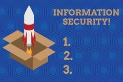 Handschriftstext Informationssicherheit Konzeptbedeutung INFOSEC, das den unberechtigten Zugriff ist geschütztes Feuer verhindert lizenzfreie abbildung